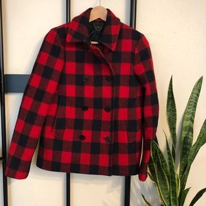 J. Crew Buffalo Check Wool Peacoat